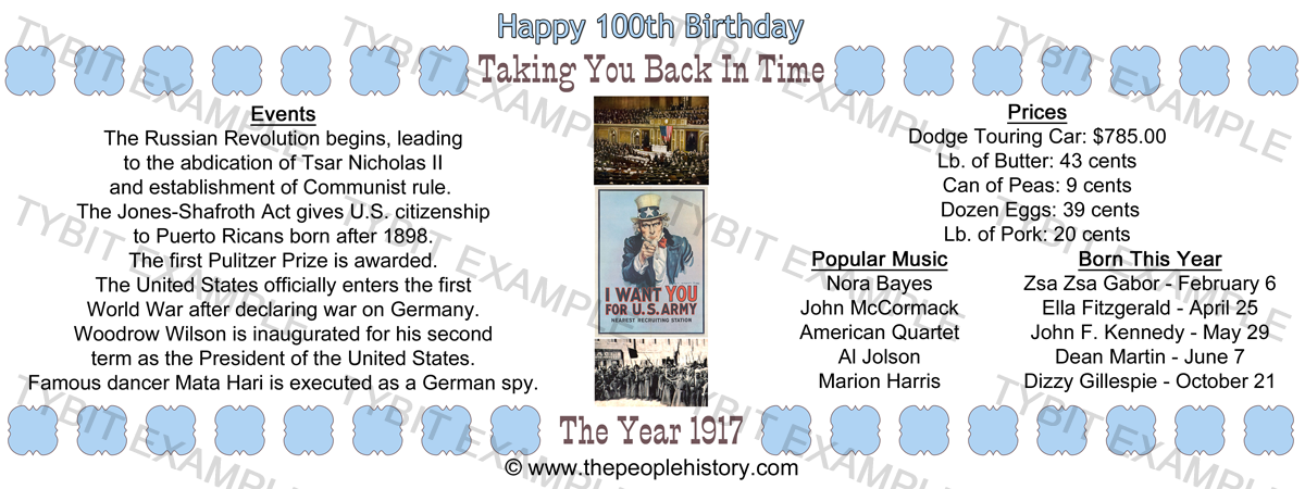 1917 100th Birthday Example