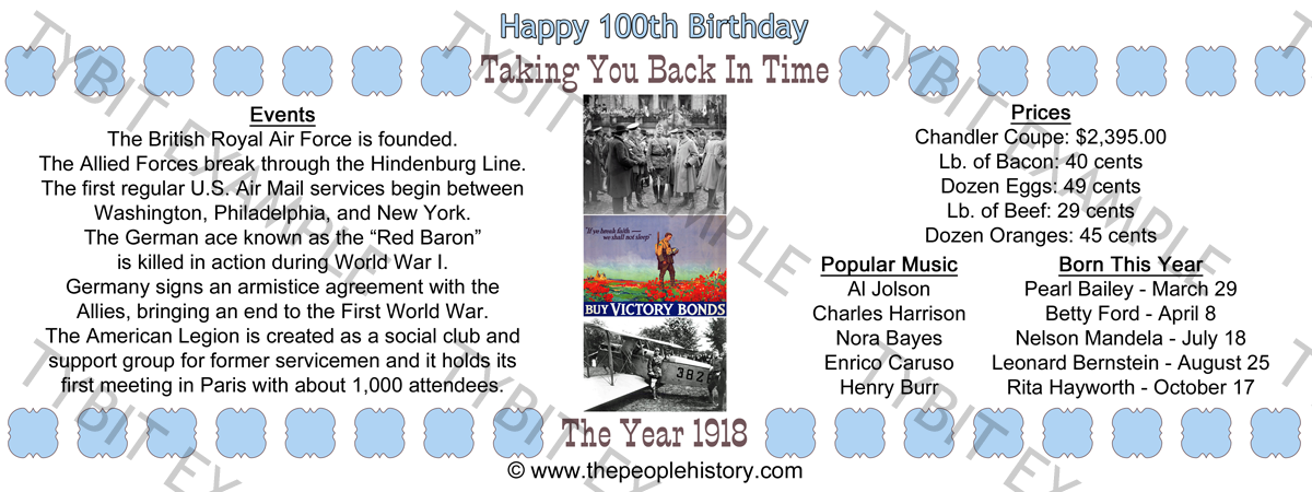1918 100th Birthday Example