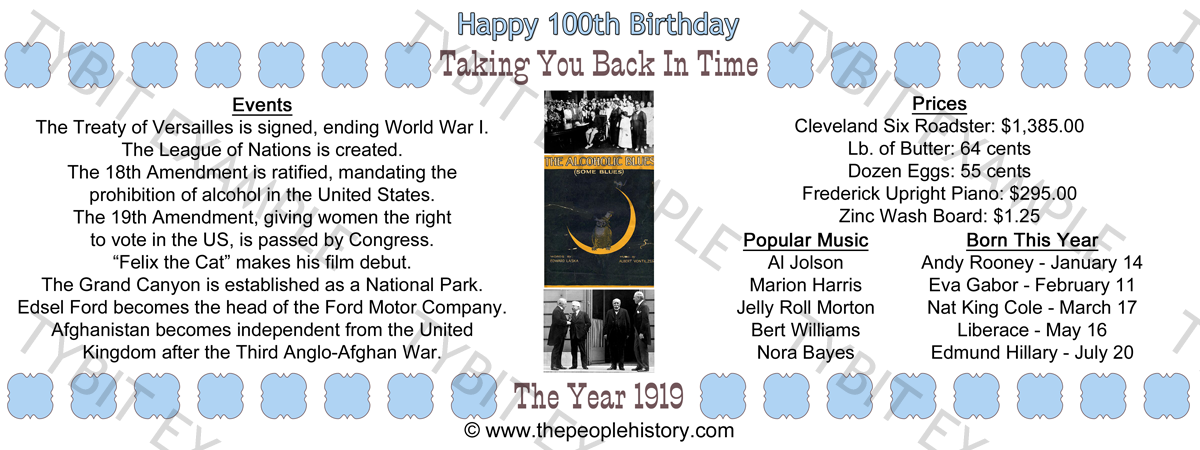1919 100th Birthday Mug Image