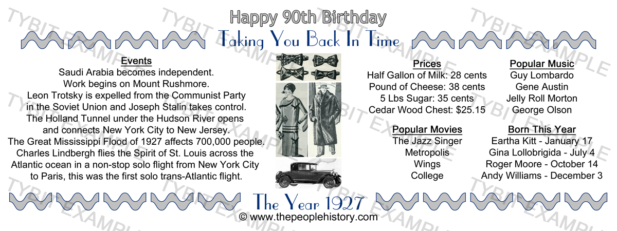 90th Birthday 1927 Example