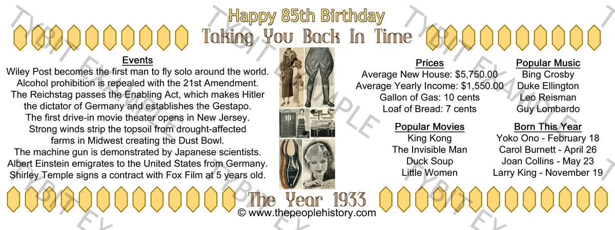85th Birthday 1933 Example