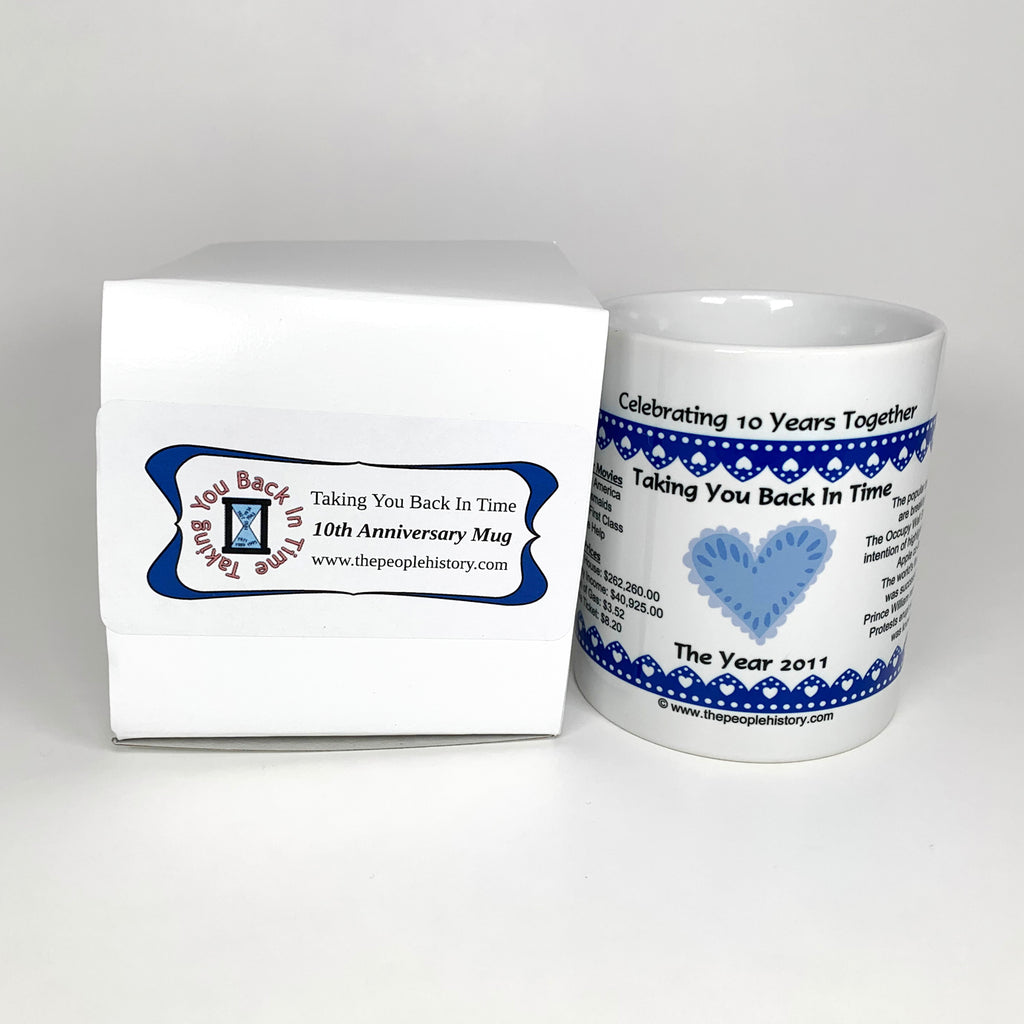 10th Wedding Anniversary Coffee Mug With Gift Box Backintimegifts