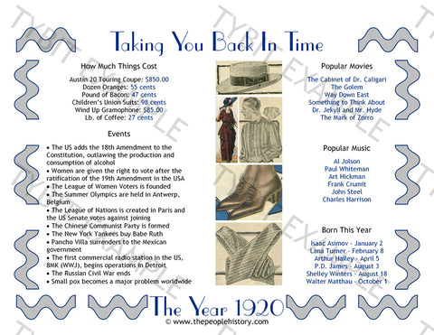 1920 Year In History Personalized Party Favor Birthday Print