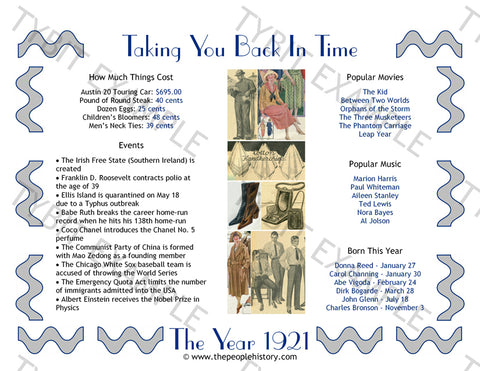 1921 Year In History Personalized Birthday Print