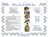 1923 Year In History Personalized Party Favor Birthday Print