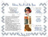 1924 Year In History Personalized Party Favor Birthday Print