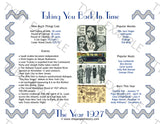 1927 Year In History Personalized Party Favor Birthday Print
