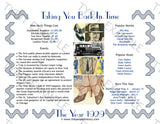 1929 Year In History Personalized Party Favor Birthday Print