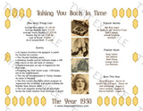 1930 Year In History Personalized Party Favor Birthday Print
