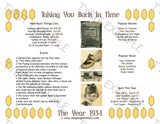 1934 Year In History Personalized Party Favor Birthday Print