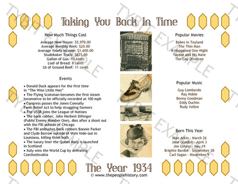 1934 Year In History Personalized Birthday Print