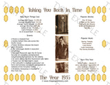 1935 Year In History Personalized Party Favor Birthday Print