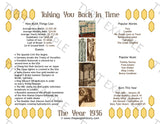 1936 Year In History Personalized Party Favor Birthday Print