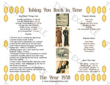 1938 Year In History Personalized Party Favor Birthday Print