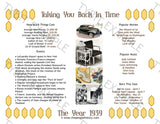 1939 Year In History Personalized Party Favor Birthday Print