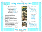 1950 Year In History Blue Personalized Birthday Print