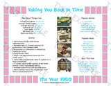1950 Personalized Year In History Print - Pink Border