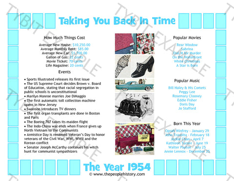 1954 Year In History Blue Personalized Birthday Print