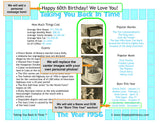 1956 Year In History Personalized Party Favor Birthday Print