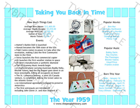 1959 Year In History Blue Personalized Birthday Print