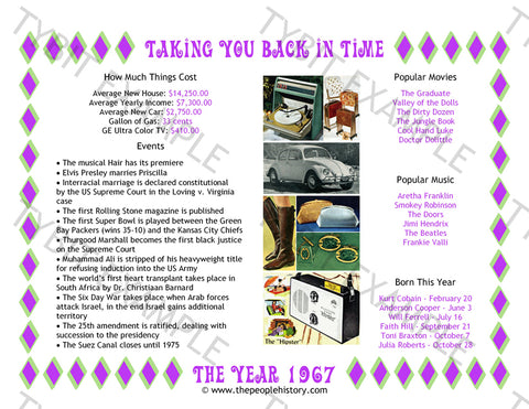 1967 Year In History Personalized Birthday Print