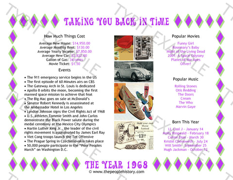 1968 Year In History Personalized Birthday Print