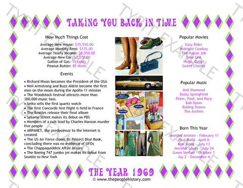 1969 Year In History Personalized Birthday Print