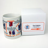 Eighties mug features a news item from each year plus examples of things for sale