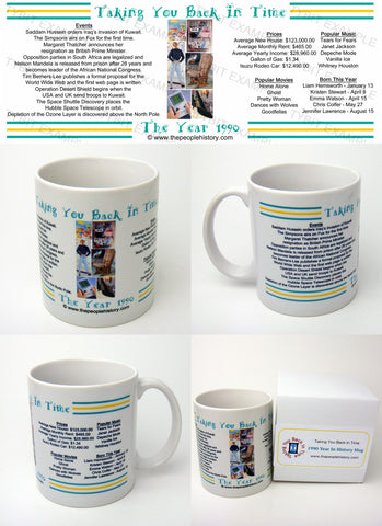 1990 Year In History Coffee Mug with Gift Box