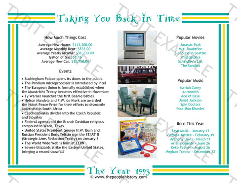 1993 Year In History Teal Personalized Birthday Print