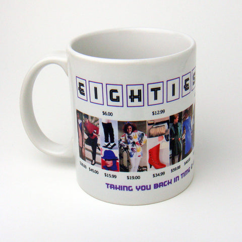 1980's Fashion Mug featuring examples of fashion clothing and prices