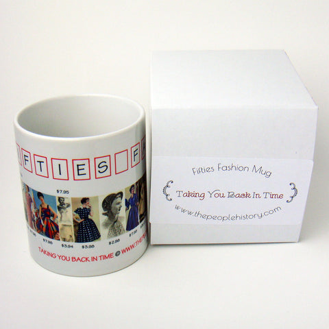 1950's Fashion Mug featuring examples of fashion clothing and prices