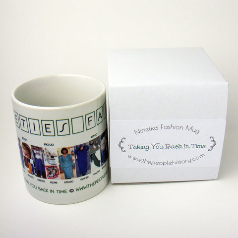 1990's Fashion Mug featuring examples of fashion clothing and prices