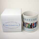 1970's Fashion Mug featuring examples of fashion clothing and prices