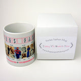 1930's Fashion Mug featuring examples of fashion clothing and prices
