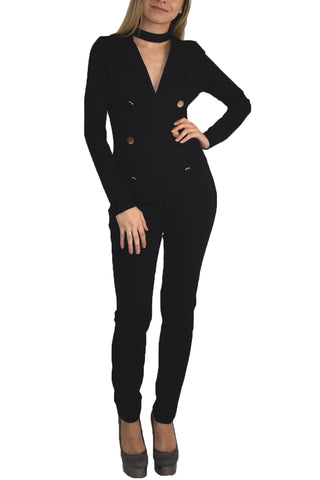 Bee Daring Black Buttons Jumpsuit