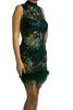 Bee Daring Hunter Green Mesh Dress