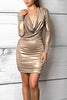 Savee Couture Metallic Drape Dress