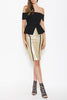Lumier Gold Pencil Skirt