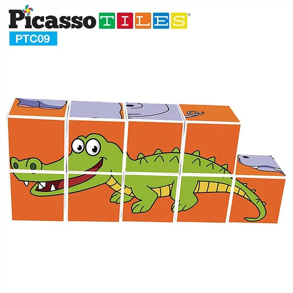 PicassoTiles 9 Piece Magnetic Magic Puzzle Cube Set