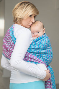 Lenny Lamb Zig Zag Turquoise and Pink Woven Wrap