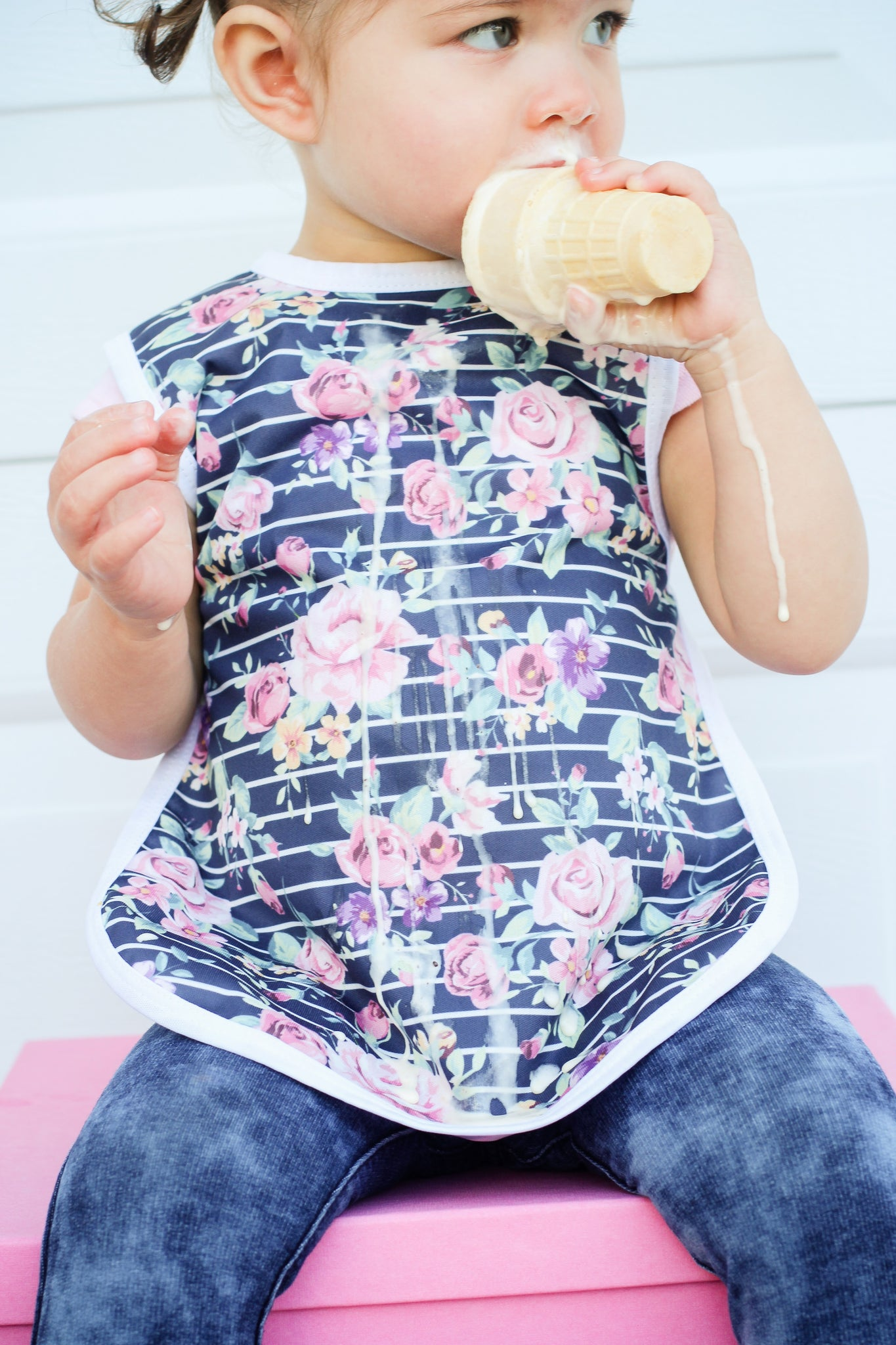 BapronBaby - Retro Stripe Rose Floral Toddler Bapron