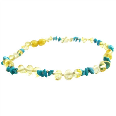 lemon amber and turquiose necklace