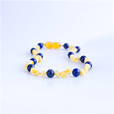 amber and lapis necklace