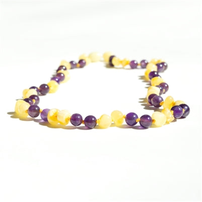 Amber Monkey Milk Amber and Amethyst Necklace