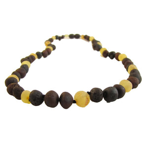 raw lemon and chestnut amber necklace