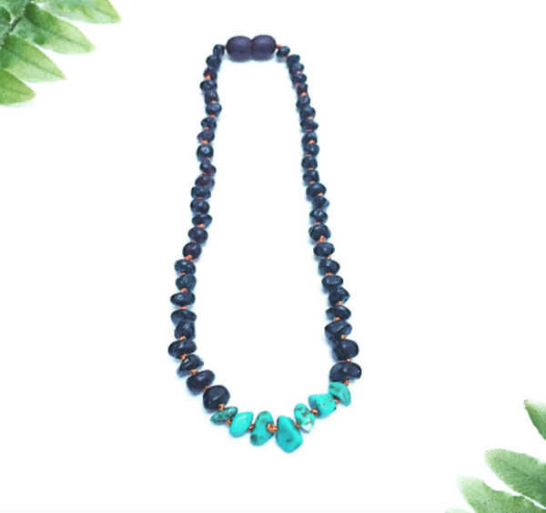 CanyonLeaf - Raw Black Amber + Turquoise Howlite || Necklace 13""