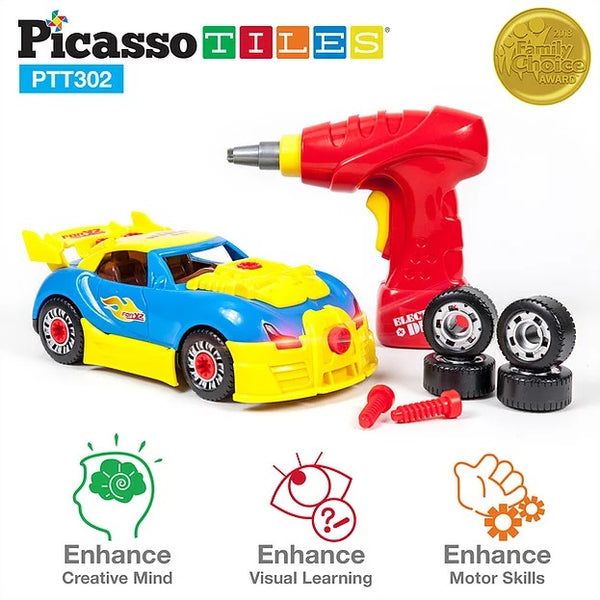 PicassoTiles Take a Part Race Car
