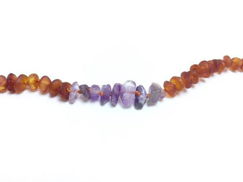 CanyonLeaf - Adult: Raw Baltic Amber + Amethyst Necklace