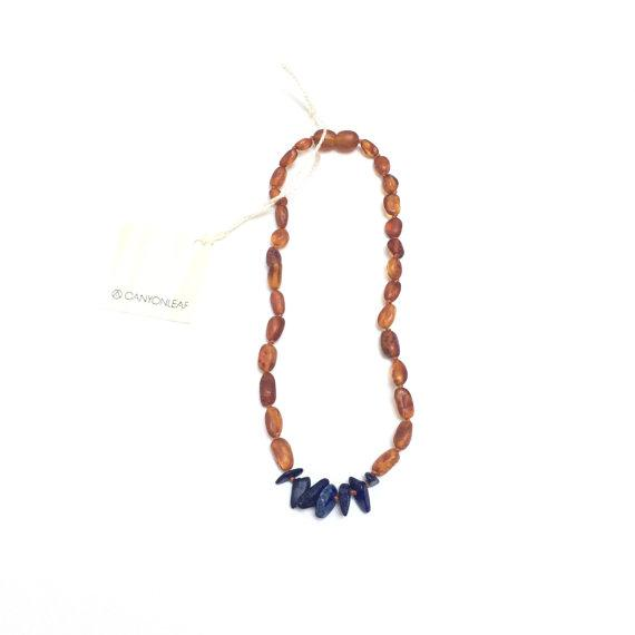 CanyonLeaf - Adult: Raw Cognac Amber + Lapis Stone || Necklace